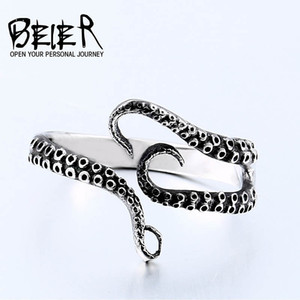 Wholesale Beier L Stainless Steel Ring Original nose viking animal Amulet Sea Squid Octopus Ring JEWELRY LR664