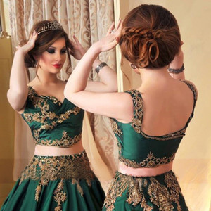 Indian Abaya Green 2 Piece Evening Dresses with Gold Lace Applique Prom Gowns Sexy Saudi Arabic Beaded Kaftan formal Wear Crop Top Ruched on Sale