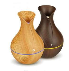 Wholesale New electric humidifier aroma oil diffuser ultrasonic wood grain air humidifier USB mini mist maker LED light for home office