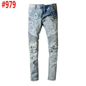 Clothing designer pants slp blue black destroyed mens slim denim jeans cstraight biker skinny jeans men ripped jeans trousers