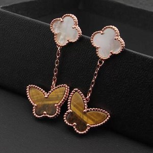 Wholesale copper yellow rose gold plated natural stone butterfly clover flower dangle earrings for women hot selling new luxury fashion jewelry