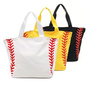 Wholesale Super Large High Quality Softball Baseball Canvas Cotton Girls Tote Bags Team Players Accessories Yellow White Handbags