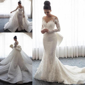 2019 Designer Long Sleeves Mermaid Wedding Dresses Sheer Neck Illusion Lace Applique Bow Overskirts Button Back Chapel Train Bridal Gowns on Sale