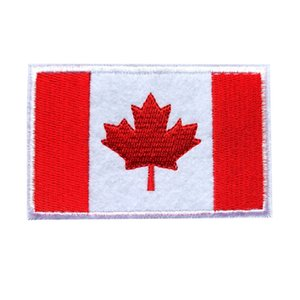 Wholesale 8CM Embroidered Canada Flag Patches Maple Leaf Sew Iron On Badges For Bag Jeans Hat T Shirt DIY Appliques Craft Decoration
