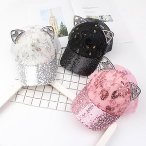 Wholesale 2019 Baby Summer Hat Bling Sequins Baby Hats Rabbit Ear Baseball Caps For Girls Mesh Sun Cap Kids Accessories
