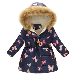 Children Toddler Baby Girls Cotton Jackets Girl winter Flower Print Warm Jacket Hooded Windproof Coat Fashion 2018 #Fi3