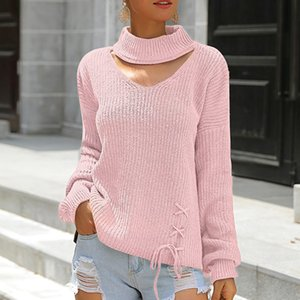 Wholesale women s sweater pullover Women Casual Solid V Neck Knitted Hollow out Long Sleeve Sweater women blusas de inverno feminina