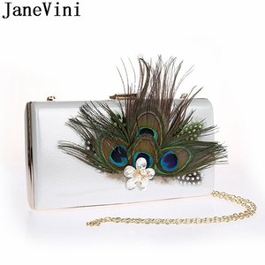JaneVini Peacock Feather Clutch Rectangle Crystal Pearl Crossbody Bag Gold Royal Blue Evening Bags Women Formal Occasion Party Handbags
