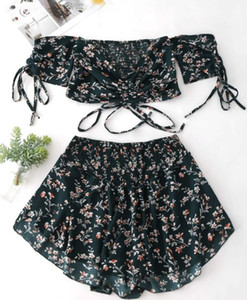 Sexy Women's Dress Summer Print Tube Top Lace Off Shoulder Small Floral Suit Cut Shirt Bra Mini Tight Skirt Ladies Evening Dress Clothes