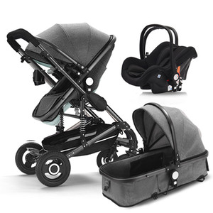 Baby stroller 3 in 1 neonatal baby carriage high landscape pram four seasons stroller absorption cart