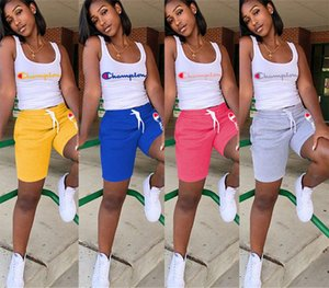 Wholesale 2019 hot Women Champions Letter Sleeveless T Shirt Vest Shorts Pants Summer Tracksuit Outfit 2 Piece Set Sportswear Sports Yoga Gym Suits