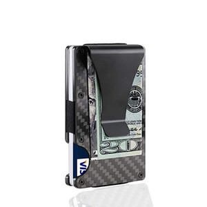 Wholesale Black Carbon Fiber Money Clip Upgrade Version RFID Blocking Wallet Slim Design Credit Card Business Card ID Holder For Men