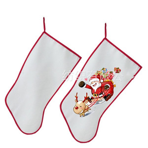 Wholesale DIY Christmas Stockings Canvas Blank Gifts Stocking Sublimation Party Sock For Happy Festival Supplies yp E1