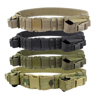 2018 New 1 piece Tactical Duty Belt Combat Police SWAT Pistol Magazine Pouch Outdoor Tactical Training Belt #722399
