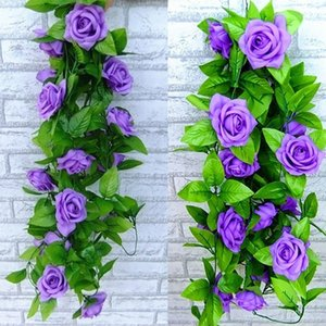Wholesale 2 m Artificial ROSE Flower Hanging Vine Ivy Decoration For Home Decor Wedding bouquet simulation decorative indoor fake Flower wall decors