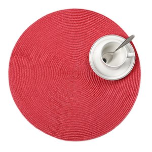 Wholesale table placemat sets resale online - 4 set Round Weave Placemat Fashion PP Dining Table Mat Disc Pads Bowl Pad Coasters Waterproof Table Cloth Pad cm Diameter T200702