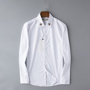 Wholesale Autumn New Designer Mens Shirts Fashion Casual High Noble Queen Bee Embroidery White Business Office Shirt Long Sleeve Brand Blouse B100220V