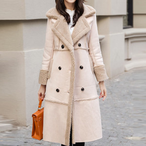 Faux Leather Coat Lamb Fur Wool Suede Coat Woman Thick Winter Jacket Women Long Overcoat Parka Ukraine Snow Wear Harajuku T191015 on Sale