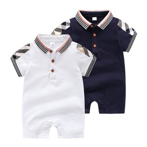 Wholesale 2019 New Baby Boys designer Romper Summer Plaid stripe short sleeve infant jumpsuit fashion lapel newborn casual onesie babies bodysuit C525
