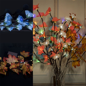 Wholesale artificial flowers lights resale online - LED Colored Lights Ins Simulated Branch Battery Box Colorful Lamp Interior Decoration Artificial Flower Lamps Hot Selling wc L1
