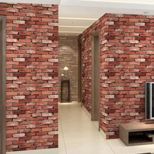 Wholesale 3D Wallpaper Roll Gray Wallpapers Pvc Back Stone Wallpapers Red brick Blue Retro brick Grey