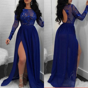 2019 Royal Blue See Through Sexy Prom Dresses Appliques Sequins Open Back Long Sleeves Cocktail Party Dress Chiffon Side Split Evening Gowns