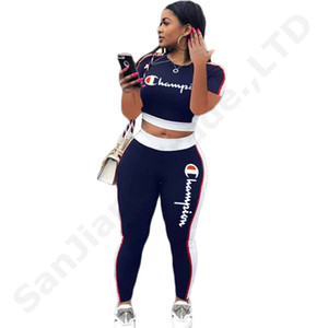 Wholesale Emboridery Champions Letters Women Tracksuit Short T shirt Crop Top Pants Casual Set Sports Suit fluorescent Green Outfit hot C3202