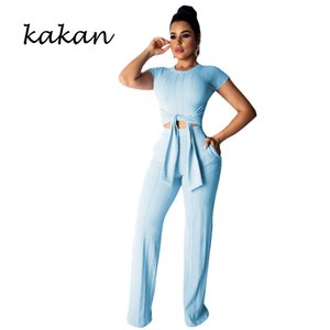 Wholesale Kakan summer new women s bodysuit tights two piece casual navel short sleeved jumpsuit pink yellow purple black jumpsuit