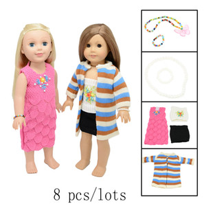 8 Piece Doll clothes & dress & accessories - 18 inch Doll Clothes Accessories Set Fits 16~18 inch doll