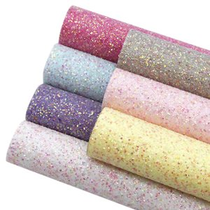 Wholesale colour sheets resale online - 20 cm Sequins Plain Coloured Chunky Glitter Faux Synthetic Leather Fabric Sheets DIY handmade materials for bag