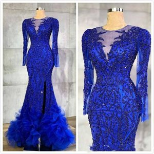 2019 Royal Blue Evening Dresses Luxurious Beaded Crystals Sheer Neck Mermaid Arabic Aso Ebi Party Gowns Formal Dresses Wear on Sale