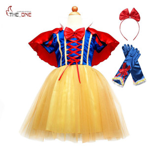 Wholesale MUABABY Snow White Dress for Girls Short Sleeve Summer Princess Dress Up Clothes with Cape Children Party Fancy Cosplay Costume SH190908