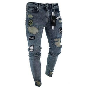 Wholesale Fashion Men Embroidered Jeans Skinny Men Hole Trousers Men s Casual Thin Summer Denim Pants Classic Cowboys Distressed Young