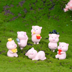 Wholesale Fortune Pig Mini Cartoon Animal Decorative Pig Year Gift Craft Keychain Accessory Micro landscape Fairy Garden Decoration DIY Material