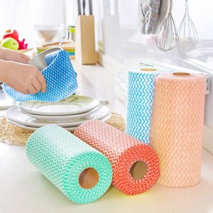 Wholesale 50pcs roll Non woven Fabric Kitchen Cleaning Cloth Multi functional Disposable Dry wet Non stick Oil Wash Towel Dishcloth