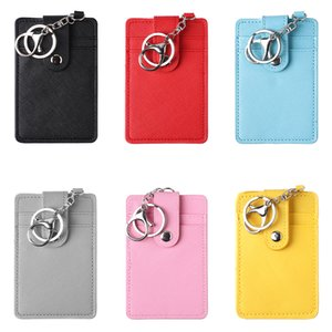 Wholesale 2019 New Unisex Portable ID Card Holder Bank Bus Cards Cover Badge Case Office Work Keychain Keyring Tool Protective Shell