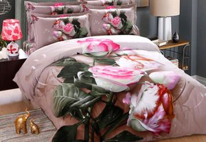 Wholesale floral king pillowcases resale online - Thickening Grinding Cotton D flower Floral Pink Girls Bedding Sets Oil Print Rose Duvet Cover flat sheet Pillowcases Queen King Size