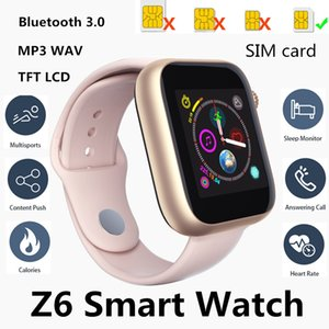 Wholesale Newest Z6 Smartwatch For Apple Iphone Smart Watch Bluetooth Watches With Camera Supports SIM TF Card For Android Smart Phone PK DZ09 GT08