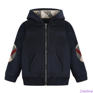 New Autumn Winter New Cotton Boy Lapel Zipper Thick Warm Hooded Cotton Children's Plaid Hooded Navy Blue + Free(3-8T) on Sale