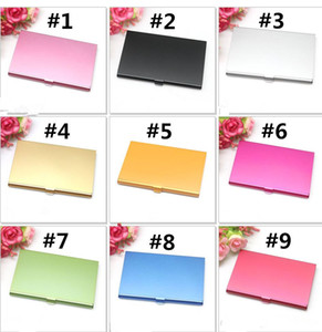 Wholesale 100PCS Business Name Credit ID Card Case Holder Aluminum Business Card Holder Card Files Aluminum Silver Color