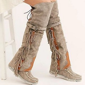 Wholesale Fashion Bohemian Boho Knee High Boot Ethnic Women Tassel Fringe Faux Suede Leather Hight Boots Woman Girl Flat Long Booties