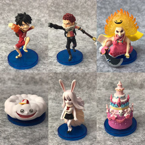 Wholesale 6pcs One Piece Anime Whole Cake Island Big Mom Luffy Katakuri Carrot WCF th Solid set PVC Action Figure Model Doll Toys Gift