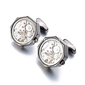 Functional Watch Movement Cufflinks With Glass Stainless Steel Steampunk Gear Watch Mechanism Cufflinks for Mens Relojes gemelos on Sale