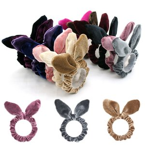 Wholesale Rabbit Ear Hairbands Velvet Ponytail Holder Rope Kids Girls Lovely Rabbit Ear Hair Rope Women Hairdress HHA678