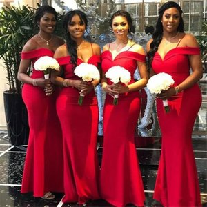 2020 African Red Mermaid Bridesmaid Dresses Newest Off The Shoulder Floor Length Long Wedding Gowns Party Dress arabic Robe de soiree