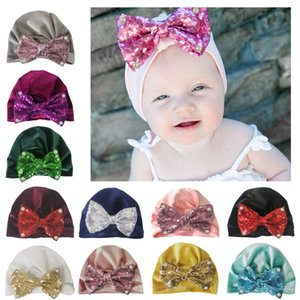 Bow Knotted Sequins Pearl Indian Velvet Hat Bandanas baby girls kids knot turban headband hair accessories for children headwrap