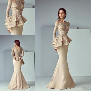 Wholesale Champagne Lace Stain Peplum Long Evening Formal Wear Dresses 2019 Sheer Neck Long Sleeve Dubai Arabic Mermaid Prom Dress