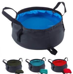 Portable Folding Washbasin Outdoor Travel use Water Bag Pot Water bucket For Camping Hiking Bath Supplies 4colors AA666 20pcs on Sale