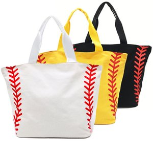Wholesale Handbag Baseball Canvas Bags Large Sports Bags Girls Tote Bags Yellow White Handbags Team Players Accessories Designs Optional YW2433