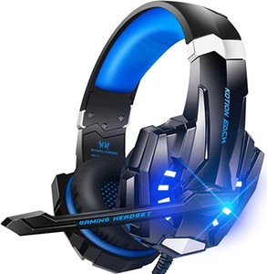 Stereo Gaming Headset for PS4, PC, Xbox One Controller, Noise Cancelling Over Ear Headphones with Mic, LED Light, Bass Surround, for Laptop